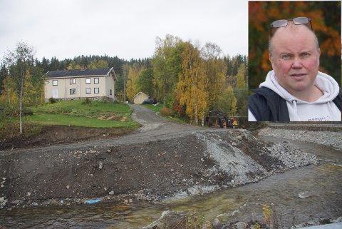 OVERKJØRT: Uno Bilden føler seg overkjørt av kommune og NVE etter at inngrepet på hans eiendom er langt større enn han er blitt informert om.