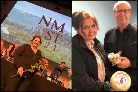 TO GULL I OSTE-NM: Til venstre mottar daglig leder av Snertingdal Yesteri, Torill Sogn Haug, blomster for osten som er den tiende beste i landet. Til høyre er hun sammen med Ketil Kjenseth., styreleder.