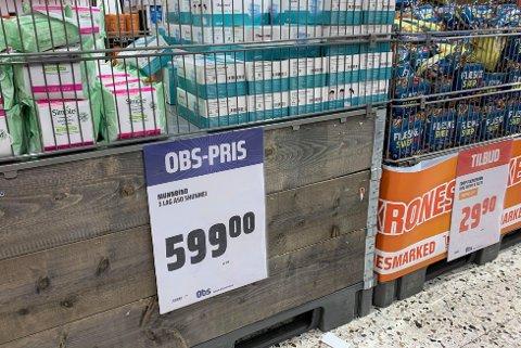 PRISØKNING: Siden koronapandemien startet har prisen på munnbind økt kraftig. En pakke på 50 munnbind koster nå 599kr hos Obs Vinterbro.