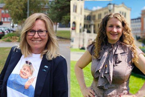 DIGGES I HVER SIN ENDE AV BYGDA: Høyres Anne Kristine Linnestad (t.v.) og Arbeiderpartiets Tuva Moflag kjempet begge om stemmene i år, men det var store utslag på hvor de og deres parti slo best an.