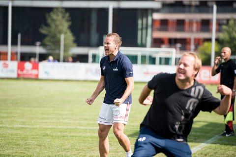 BEKLAGET: Ørjan Berg Hansen, her i vill jubel for Fram-scoring mot Alta i høst, skrev en beklagelse til egne spillere for at han ikke var like engasjert i uka før kampen mot Raufoss.