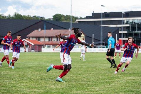 Målsnik: Mame Ndiaye scoret to mål mot Asker, men spissen kunne ikke forhindre at det ble et nytt tap for Fram Larvik.