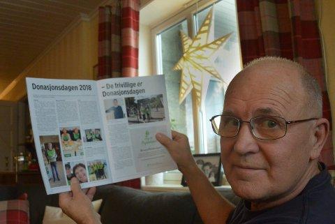 TRENGER FLERE: – Det trengs mange flere donorer, sier Finn Larsson i Våler. Han har selv fått en ny nyre og jobber aktivt for at flere skal bli donor.