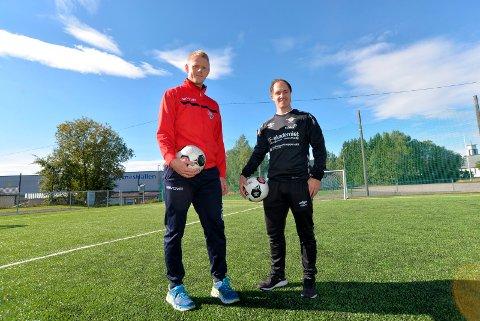 SAMARBEID: Morten Fredrikson i HSK og Anders Bronken i Elverum Fotball ser fram til å samarbeide om FFO-tilbud for barn fra Hernes, Sørskogbygda og Kirkeby. Foto: Wenche Norberg-Schulz
