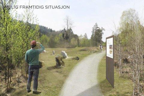 SKISSE: Kulturminneconsult og Dronningalandskap har laget mulighetsstudie for parken der gravminnene fra eldre steinalder skal rekonstrueres. Oppstart varsles for ny reguleringsplan for park og ny E18 Skjelsvikdalen-Kjørholt.