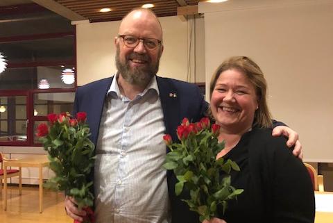Ordførerkandidat Geir Morten Waage og varaordførerkandidat Elin Dahlseng Eide.