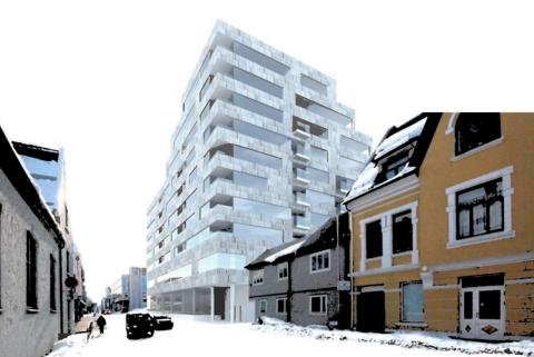 FORSLAG: Her er en av de skisserte løsningene for Nordlyskvartalet. Foto: Stine Bugge/70 grader nord arkitektur