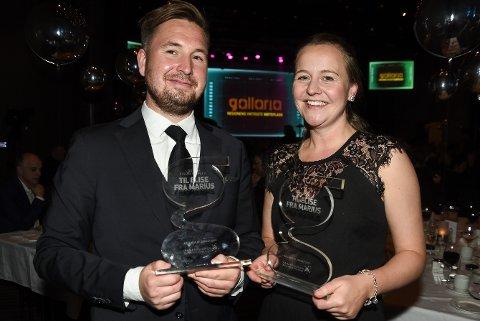 - Å vinne pris for beste logo og beste webside er helt magisk, sier Marius Martinsen og Elise Bratteng Rønning fra restauranten Til Elise fra Marius.