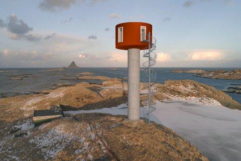 Slik skal det gamle vanntårnet på Røst framstå hvis Martin Otterbeck får realisert sine planer. Ombyggingen kan starte til høsten.