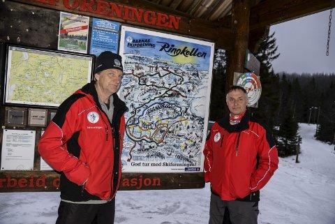 Produksjon av kunstsnø ville vært perfekt for Ringkollen. Skiforeningens Erling Nygård og Rolf Storbråten håper skiklubbene nå engasjerer seg i prosjektet.