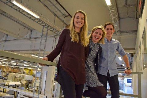 Frisk pust: Tuva Bjerke (t.v.), Martine Torget Hallset og Jørgen Bekken utgjør mye av innovasjonsløftet på Smurfit Kappa Norpapp.