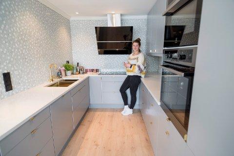 Malene Dahl Olsen har pusset opp leiligheten sin i Valhallveien i Heradsbygda.