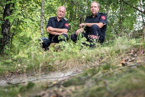 Konstituert brannsjef i Ringerike brann- og redningstjeneste Jostein Dahl og branninspektør Øystein Haugen.