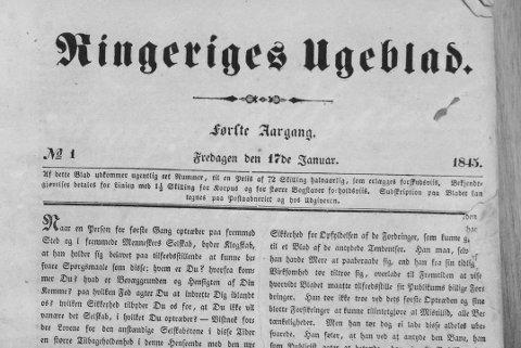 FØRSTE UTGAVE: Side 1 i Ringeriges ugeblad, 17. januar 1845. Avisen ble senere Ringerikes blad.