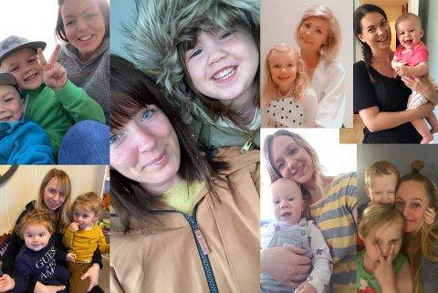 BABYBOOM: Ni barn på fem år, taler for seg selv. Her er Hanne med Stella (5) og Styrk (4), Kine med Isak (6) og Emrik (3), Sylvia med Othilie (11 mnd), Kristine med Matheo (1), Anne-Marthe med Erik (2) og Emilie (1) år, Tonje med Cassandra (5), og Liss med Hedda (4).