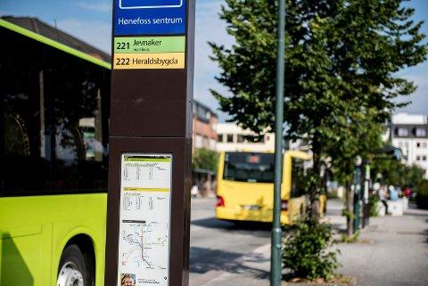Sentrum stopp: Bussen går til Heradsbygda selv om skiltet sier Heraldsbygda.