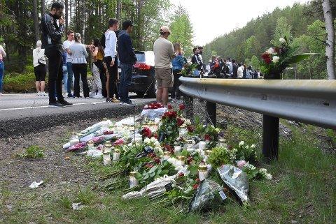 STERKT: Politiet bisto familie og venner i å arrangere minnemarkeringen på E134. Det ble tøft for mange å se hvor ulykken hadde skjedd.