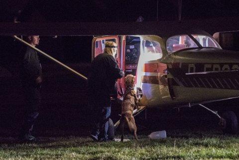 AKSJON: Her gjennomsøker en av tollvesenets hunder flyet etter at det landet på Kjeller mandag kveld.