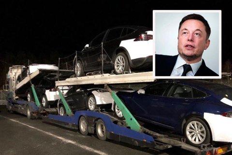MÅ BREMSE: Tesla-gründer Elon Musk må slå på nødbremsen for transport til Norge etter flere avsløringer om farlig frakt med litauiske vogntog. Bildet viser en Tesla-transport som ble stoppet på Svinesund 19. mars med bremsefeil, kløst påbygg og utslitt hengerfeste.