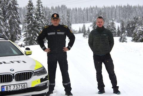 SIER NEI: Politikontakt Bjørn Slåtsveen og almenningsbestyrer Mats Halvorsrud ønsker ikke romeriksrånerne velkommen på veien deres.