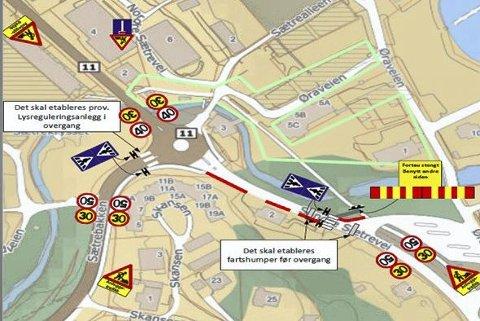 FORSINKET: Fra fredag av blir dette den nye skoleveien for elevene ved Sætre skole.