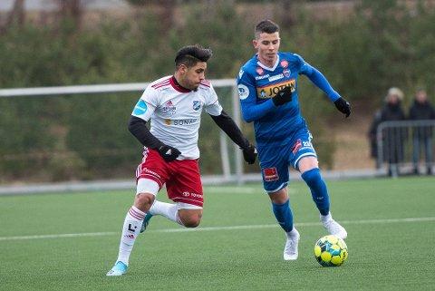 TAPTE: Vidar Jònsson spilte fra Start mot Fram og Ayoub Ghellam. Fram Vann kampen 3-2.