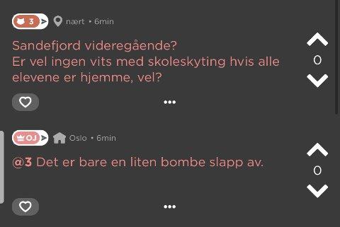 JODEL: Disse meldingene ble lagt ut på Jodel mandag kveld. Tirsdag ble vedkommende bak bombetrusselen hentet av politiet i Sandefjord.