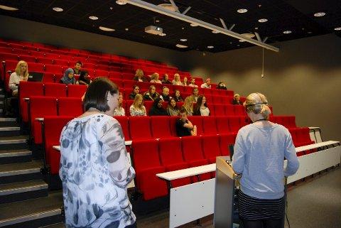 VIKTIG OPPGAVE: Jobben Lene Skytte Gunstrøm (t.v.) og Ina Tangen gjør her, skal bidra til at flere førstegangsvelgere benytter stemmeretten. FOTO: PÅL VIKESLAND