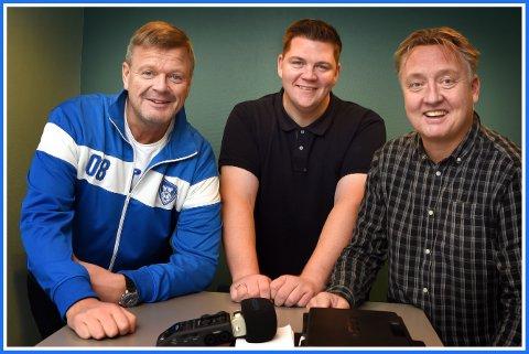 TRE GLADE GUTTER: Bjørn Inge «Bingen» Nilsen, Patrick Walther Larsen og Petter Kalnes i SAs podcaststudio.