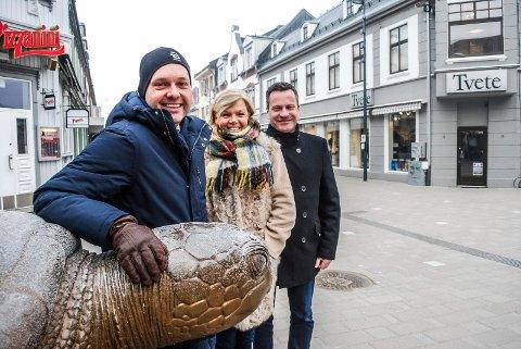 NYTT BYSAMARBEID: For å få enda mer fart i sentrumsutviklingen er det startet opp et nytt bysamarbeid, hvor Sindre Martinsen-Evje, Marit Bjørnland og Morgan Pettersen deltar.