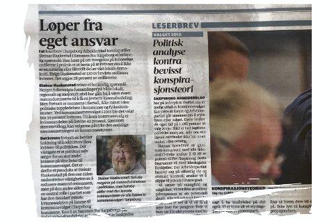 Steinar Haakenstad (SaFoSa) reagerer på Sarpsborg Arbeiderblads leder. – Lederen handler merkelig nok ikke om å besette ordførervervet med en kvinne, men om kjønnsfordelingen på Sammen For Sarpsborgs valgliste, skriver Haakenstad.