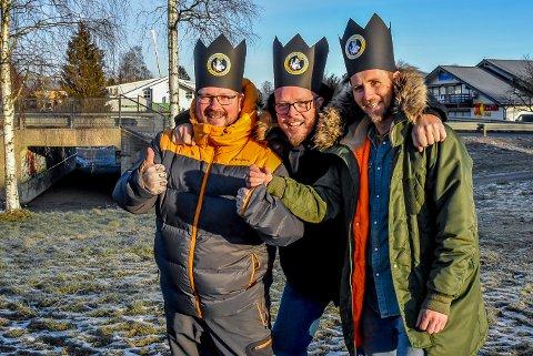 Børre Olsen (f.v.), Eddy Lyshaug og Kenneth Hansen feirer Spydeberg Rocks 10-årsjubileum med et enda større festivalområde.