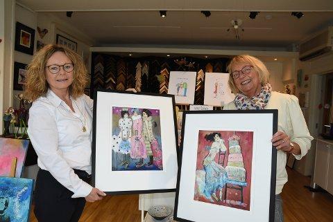 SKAPER LYKKE: Iren Graff Lilleng og Ingrid Fredstad klare med to utstillinger som vil skape lykke.