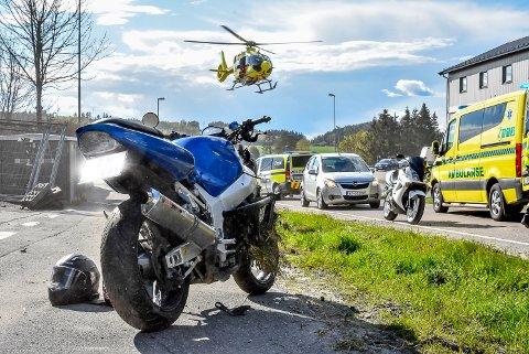Luftambulansen ble tilkalt etter ulykken.