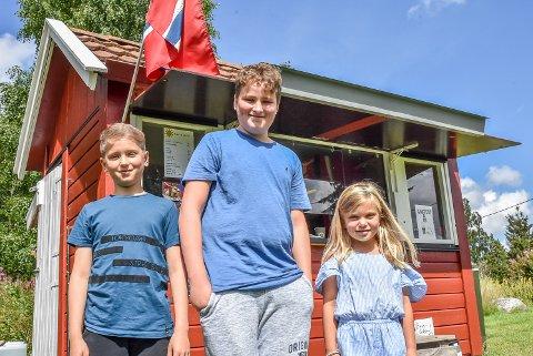 Markus Thoresen Hakkim (7), Mats Thoresen Hakkim (11), og Nelly Bauer Haug (7) står klare for å servere gode hyttenaboer.