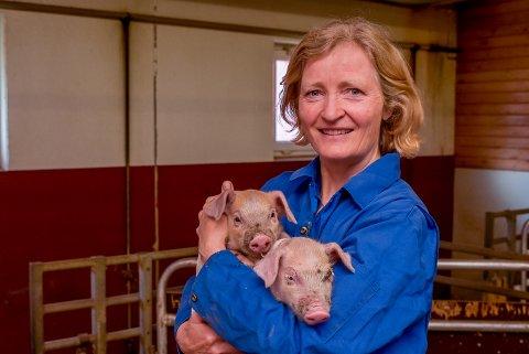 Tilsyn: Griseprodusent Kristin Ianssen sier hjertelig velkommen om Mattilsynet kommer på tilsyn til besetningen hennes. På gården er det 45 purker og det kommer  mellom 800 og 1.000 smågris i løpet av et år.