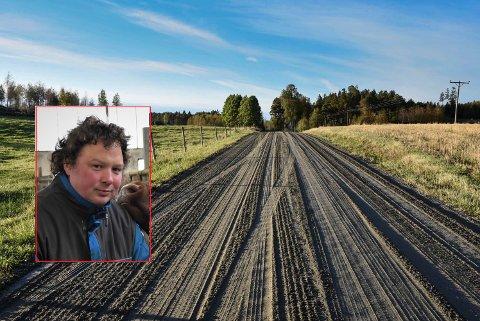 DÅRLIG STAND: Dyrbekkveien i Skiptvet brukes mye, påpeker Tor Jacob Solberg (Sp).
