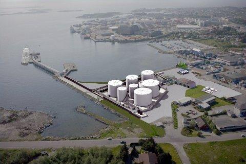 Rådmannen anbefaler at Shell får bygge nytt tankanlegg i Risavika. I så fall vil det se slik ut.
