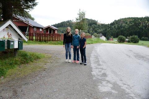 AUGUST 2019: Jenny (t.v.), Rikke og Bertil Modell Almlid bor midt i en sving på Utvik. Her er fartsgrensa 80 kilometer i timen. Foreldrene fikk rett da de i august i fjor spådde mye mer trafikk. Det har blitt en dobling av trafikken.