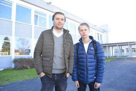 Nei til flere eksamener: Stortingsrepresentant Christian Tynning Bjørnø (Ap) og fylkesleder i AUF Fredrik Sørlie.