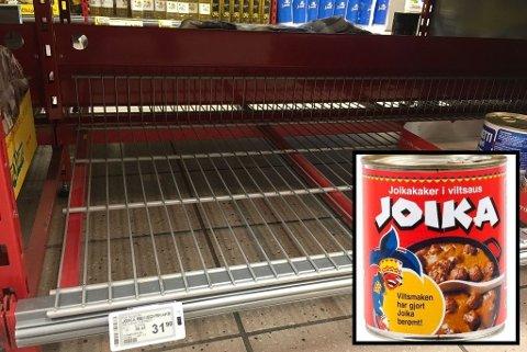 Norske butikker tomme for joikakaker. Her fra butikkhyllen til Bunnpris i Alta. Foto: Kim Gaare (Montasje Nettavisen) (ifinnmark.no)