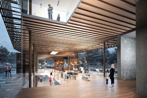 TRANSPARENT: Det nye museumsbygget er transparent med mye glass og åpne løsninger mellom etasjene. Nå venter Telemark museum spent på tilbudene for hva bygget vil koste. ILLUSTRASJON: BØRVE OG BORCHSENIUS