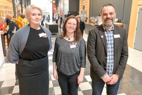 FIKK STØTTE: Vilde Berg-Nilsen, Linn Schistad Camara og Ole Martin Haukland er fornøyd etter at SV sa nei til deponi og satte tydelige krav til industrien.
