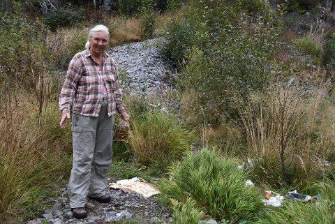 VERSTE PÅ TI ÅR: Eva Storrusten har hatt hytta ved Elgsjø i ti år - men søppelproblemet har aldri vært så ille som nå. Foto: Anders Moen Kaste