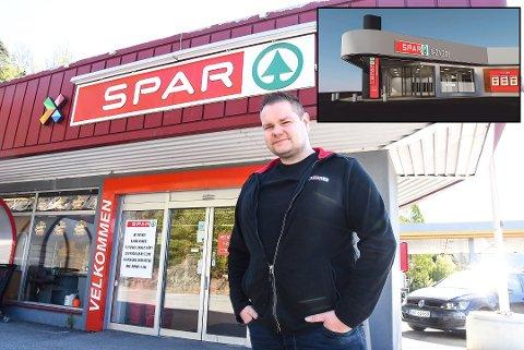PUSSER OPP: Butikkeier Tor Magne Tømmermo gleder seg til å kunne åpne den nyoppussede forretningen (innfelt) i juli. Foto:Beate Evensen