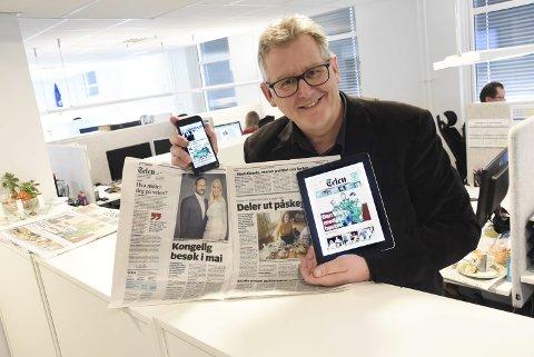 Redaktør Jens Marius Hammer sier leserne er sultne på å få nyhetene kjapt og effektivt. Derfor settes nå ressursene inn på å øke det digitale tilbudet. – Mindre papir, mer nyheter og noe å lese hele tiden, det er vår målsetting, sier redaktøren som styrer etter nye brukermønstre fra leserne.