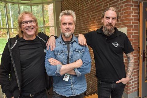 SAMARBEIDER: Nå samarbeider de godt. Fra venstre Jostein Forsberg fra Notodden Blues Festival, Universitetets Bård Gunnar Moe og Telerocks Michael Siriozud.