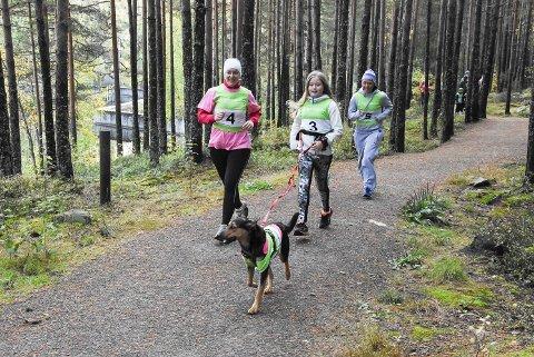 HUND: Rosa Sløyfe-løpet samlet over 300 personer. Også en hund hadde fått startnummer på kroppen.