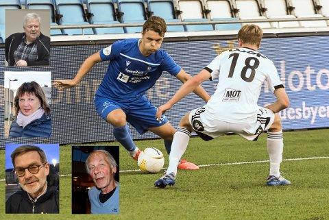 TRENGER HJELP: Notodden Fotballklubb har søkt Notodden kommune om pengehjelp. Torsdag behandler politikerne saken. Innfelte (fra øverst og nedover) Torgeir Bakken (Ap), Solveig Randbye (Ap), Knut H. Duesund (Uavh.) og Nils Angard (Sp) sier her hva de mener om saken. På bildet ellers NFKs Espen Hagen i kampen mot Rosenborg 2. i duell med Oscar Solnørdal.