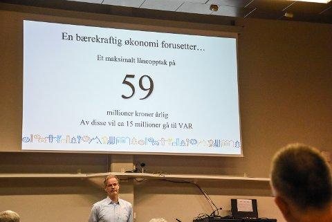 59: Tallet er 59 millioner. Det er det rådmann Per Sturla Wærnes mener at Notodden kommune kan låne til investeringer i årene framover. Det betyr at han sier nei til ny barneskole på Klokkarrud i Heddal.